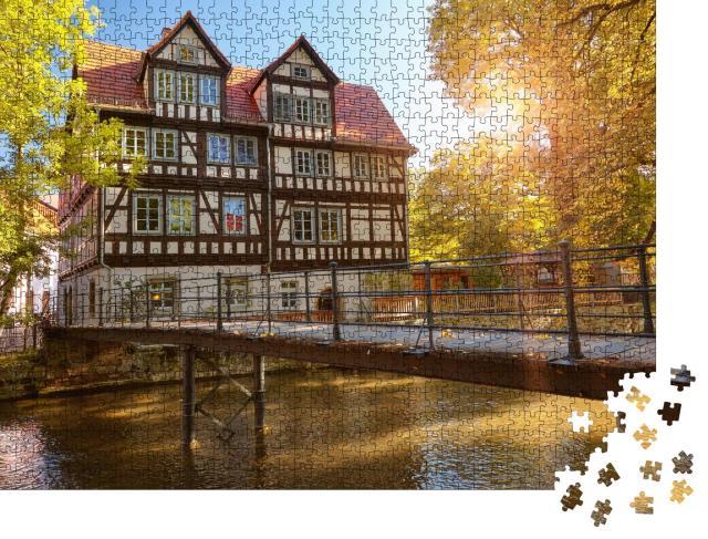 """Puzzle 1000 Teile """"Historisches Fachwerkhaus an der Gera, Erfurt"""""""