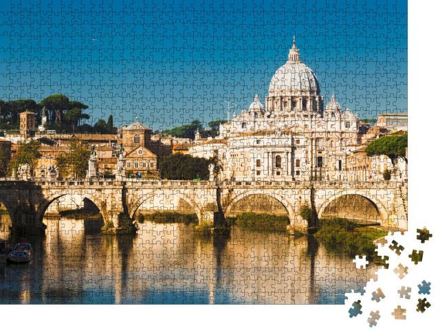 "Puzzle 1000 Teile ""Basilika St. Peter und Fluss Tiber in Rom, Italien"""