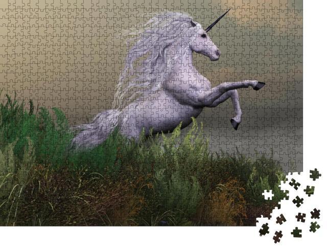 """Puzzle 1000 Teile """"Ein weißer Einhornhengst erhebt sich mit Macht und Majestät"""""""