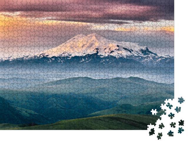 "Puzzle 1000 Teile ""Berg Elbrus im Sonnenaufgang, Nord-Kaukasus, Russland"""
