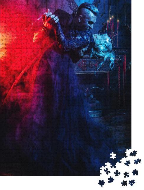 """Puzzle 1000 Teile """"Vampir und junge Frau tanzen vor einem Kamin, Rauch, Kleider"""""""