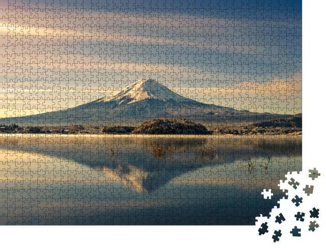 """Puzzle 1000 Teile """"Spiegelung es Fuji im Wasser, Herbst in Japan"""""""