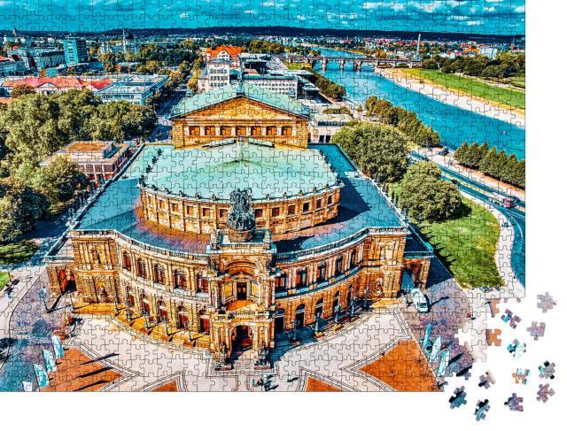"""Puzzle 1000 Teile """"Beeindruckender Blick auf die Semperoper, Dresden, Deutschland"""""""