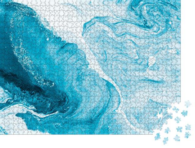 """Puzzle 1000 Teile """"Blau mit Silber, kreativer, abstrakter und handgemalte Hintergrund, Marmor-Textur"""""""