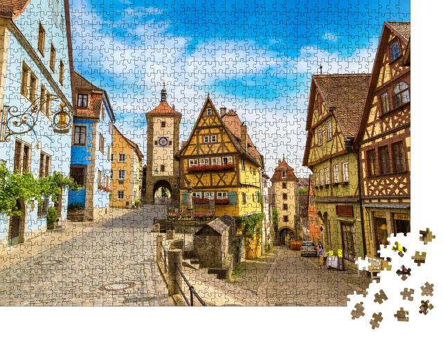 """Puzzle 1000 Teile """"Mittelalterliche alte Straße in Rothenburg ob der Tauber, Deutschland"""""""