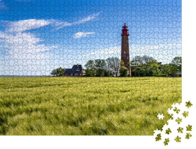 """Puzzle 1000 Teile """"Der schöne Leuchtturm von Flügge, Insel Fehmarn, Deutschland"""""""