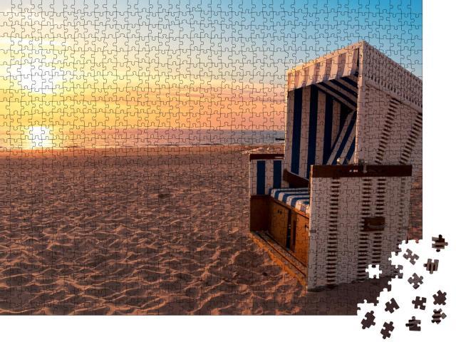 """Puzzle 1000 Teile """"Sylt: Nordseeufer und Strand bei Sonnenuntergang"""""""