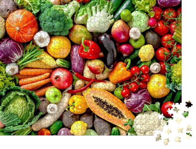 """Puzzle 1000 Teile """"Sortiment von frischem Obst und Gemüse"""""""