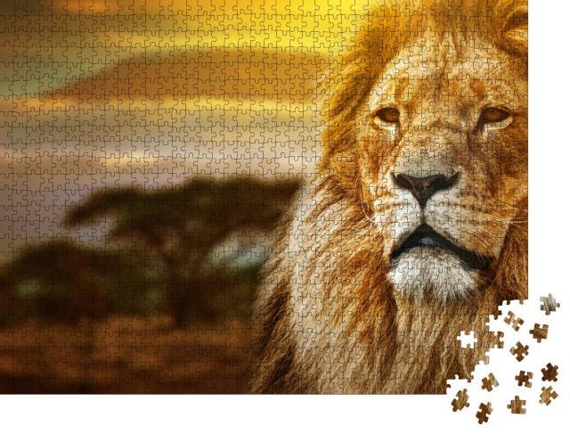 "Puzzle 1000 Teile ""Löwen vor dem Kalimandscharo"""