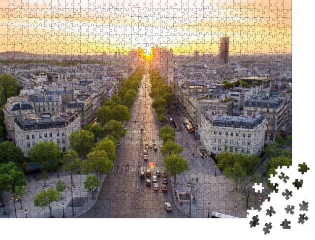 """Puzzle 1000 Teile """"Perfekter Blick auf den Sonnenuntergang an der Champs Élysées, Paris, Frankreich"""""""