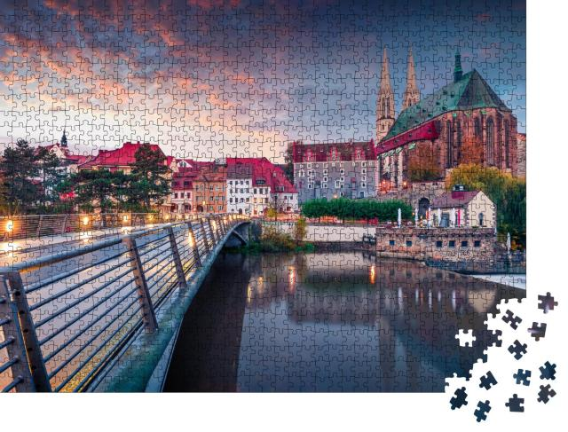 """Puzzle 1000 Teile """"Sonnenaufgang über der Peterskirchen in Göritz, Deutschland"""""""