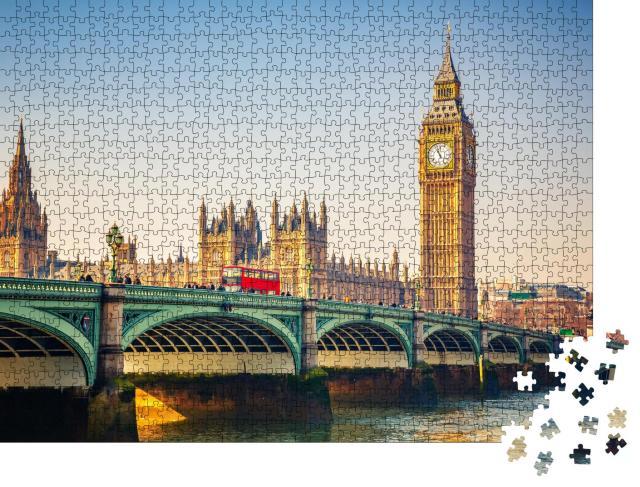 """Puzzle 1000 Teile """"Weltberühmte Wahrzeichen: Big Ben und Westminster Bridge in London"""""""