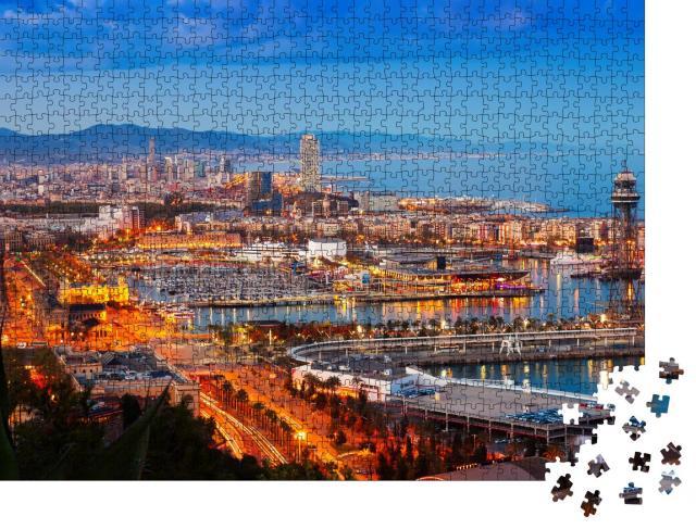 """Puzzle 1000 Teile """"Panorama von Barcelona mit Hafen bei Nacht, Spanien"""""""