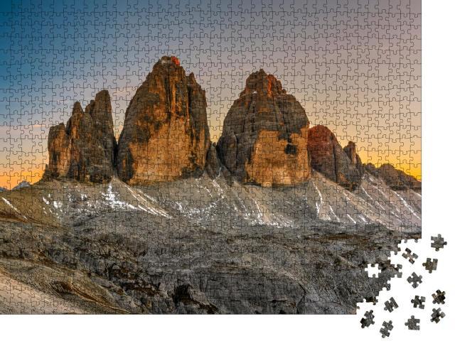 """Puzzle 1000 Teile """"Die Drei Zinnen im Sonnenuntergang, Trentino, Südtirol"""""""