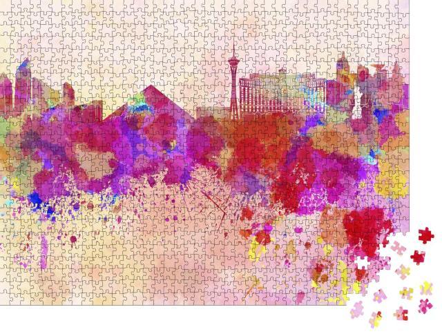 """Puzzle 1000 Teile """"Aquarell: Las Vegas Skyline"""""""