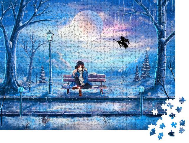 """Puzzle 1000 Teile """"Ein Anime-Mädchen sitzt in einem Park"""""""