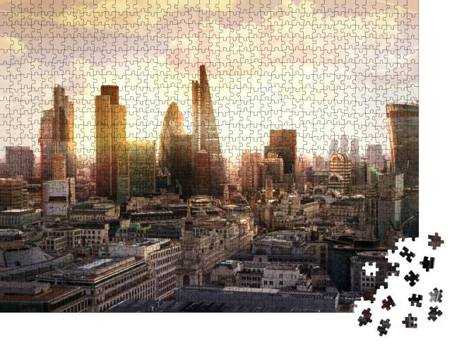 """Puzzle 1000 Teile """"Abendliche Skyline des Bankenviertels, London, UK"""""""