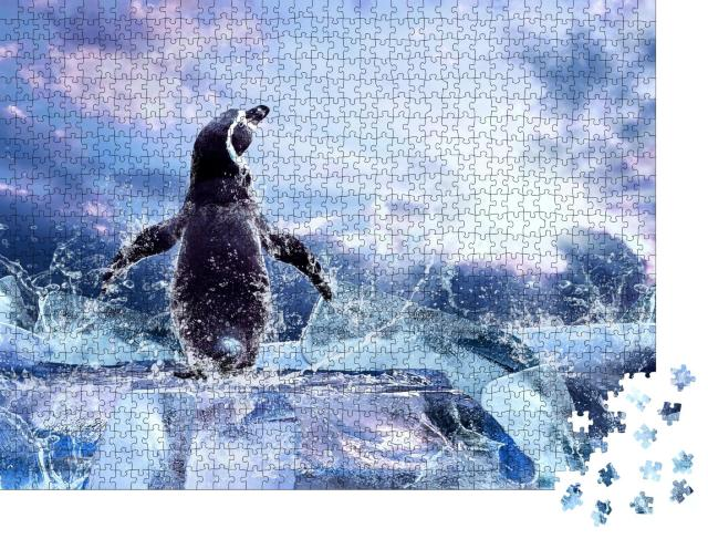 """Puzzle 1000 Teile """"Pinguin auf dem Eis"""""""
