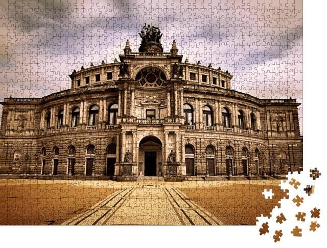 """Puzzle 1000 Teile """"Berühmtes Opernhaus in Dresden: Die Semperoper"""""""