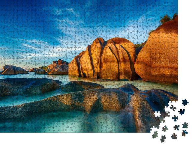"""Puzzle 1000 Teile """"Wunderschön geformte Granitfelsen auf der Insel La Digue, Seychellen"""""""