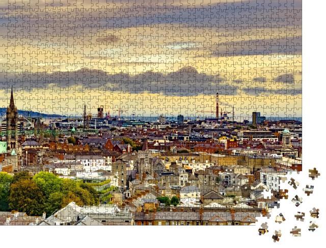 """Puzzle 1000 Teile """"Panorama von Dublin, Hauptstadt von Irland"""""""