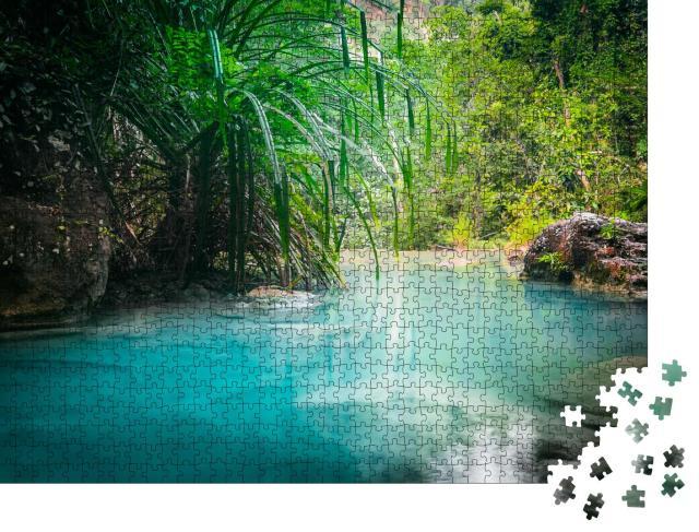 """Puzzle 1000 Teile """"Türkisfarbenes Wasser des Erawan-Kaskaden-Wasserfalls, Thailand"""""""