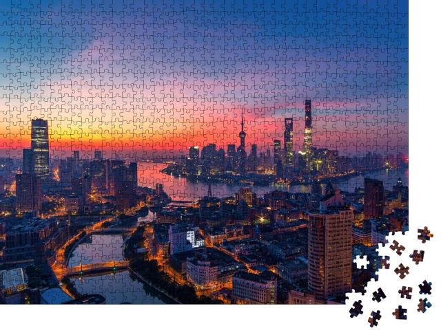 """Puzzle 1000 Teile """"Shanghai in der Abenddämmerung"""""""
