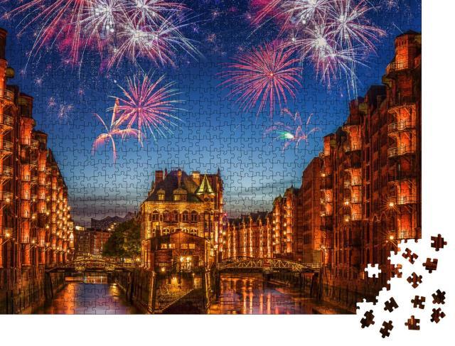 """Puzzle 1000 Teile """"Feuerwerk über Hamburg"""""""