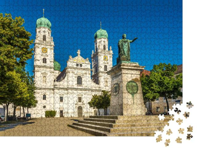 """Puzzle 1000 Teile """"Blick auf den Stephansdom mit Denkmal, Passau, Bayern"""""""