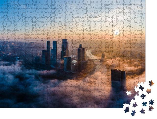 """Puzzle 1000 Teile """"Luftaufnahme: Türme des Moscow International Business Centre am Morgen"""""""