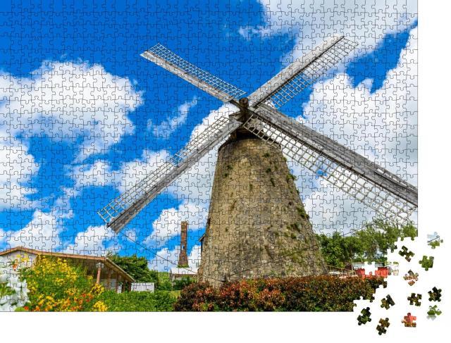 """Puzzle 1000 Teile """"Malerische Windmühle auf Barbados, Karibik"""""""