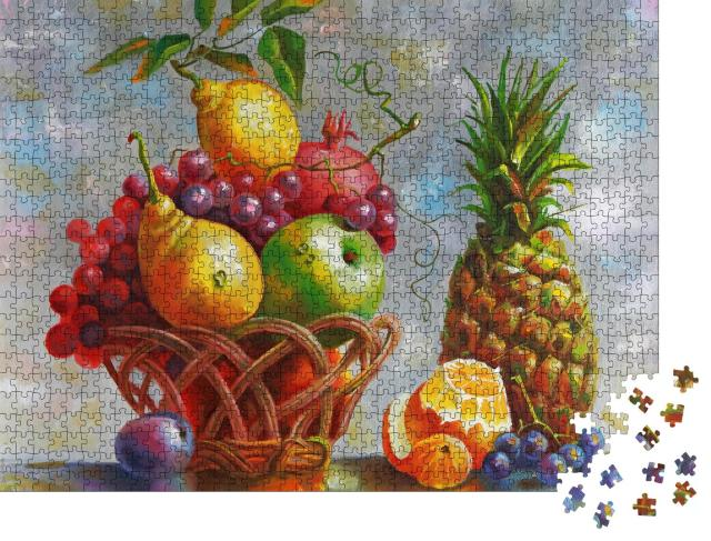 "Puzzle 1000 Teile ""Kunstwerk, Stillleben mit Ananas, Malerei: Öl auf Leinwand von Nikolai Sivenkow"""