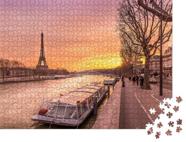 """Puzzle 1000 Teile """"Die Seine in Paris im bezaubernden Sonnenuntergang"""""""