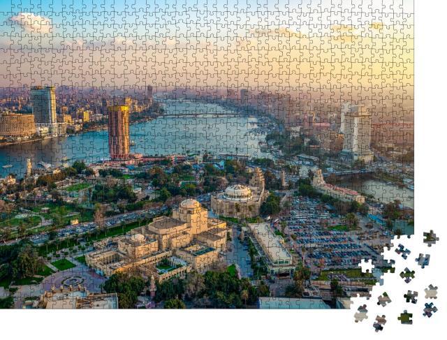 """Puzzle 1000 Teile """"Panorama der Kairoer Stadtlandschaft bei Sonnenuntergang, Ägypten"""""""
