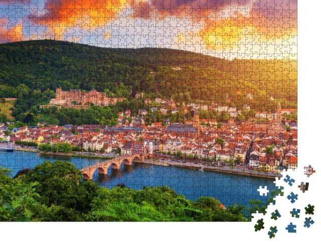 """Puzzle 1000 Teile """"Panoramablick auf Heidelberg mit Neckar, Deutschland"""""""