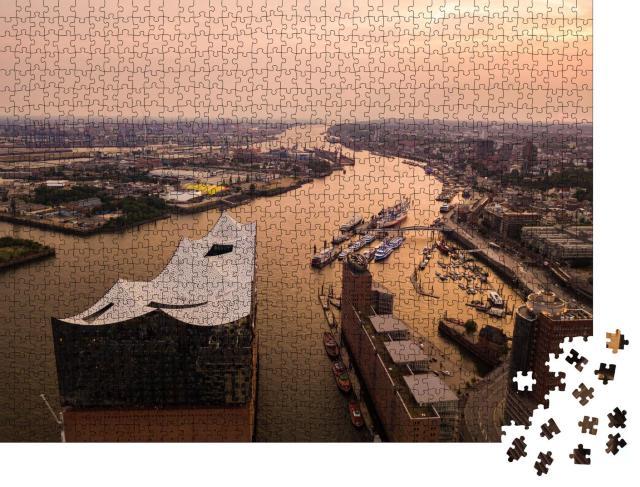 """Puzzle 1000 Teile """"Luftaufnahme der Elbe und des Opernhauses in Hamburg"""""""