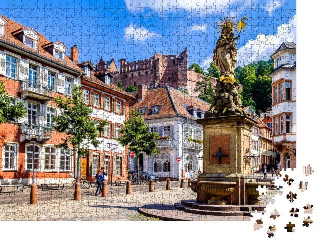 """Puzzle 1000 Teile """"Malerische Altstadt von Heidelberg in Deutschland"""""""