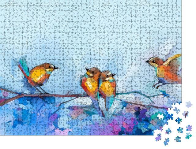 """Puzzle 1000 Teile """"Illustration: Vögel im Frühling"""""""