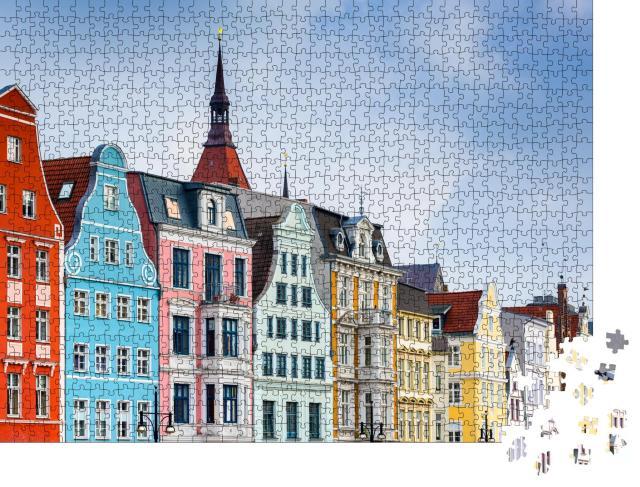 """Puzzle 1000 Teile """"Rostock, Deutschland Altstadt Stadtbild."""""""
