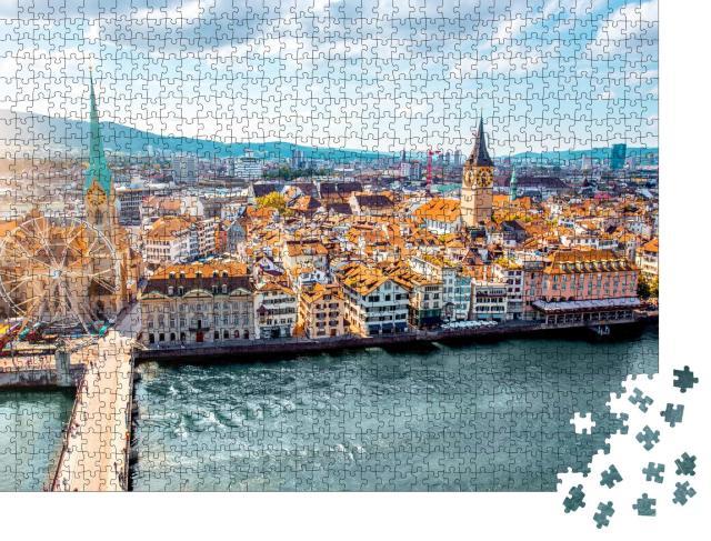 """Puzzle 1000 Teile """"Altstadt von Zürich, Schweiz"""""""