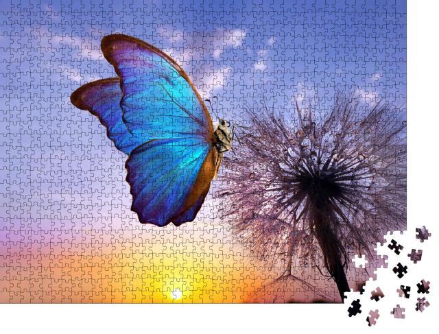 """Puzzle 1000 Teile """"Der wunderschöne blaue Morpho Schmetterling auf einer Pusteblume"""""""