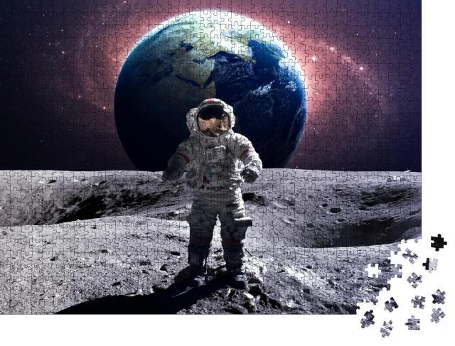"""Puzzle 1000 Teile """"Mutiger Astronaut bei einem Weltraumspaziergang auf dem Mond"""""""