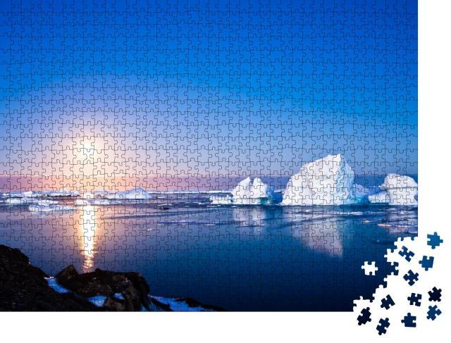 """Puzzle 1000 Teile """"Antarktis bei Sommernacht, Eisberge und Mondlicht"""""""