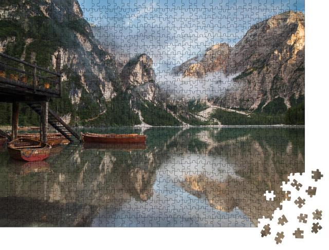 """Puzzle 1000 Teile """"Pragser Wildsee, Lago di Braies, Naturpark Fanes-Sennes-Prags, Dolomiten"""""""