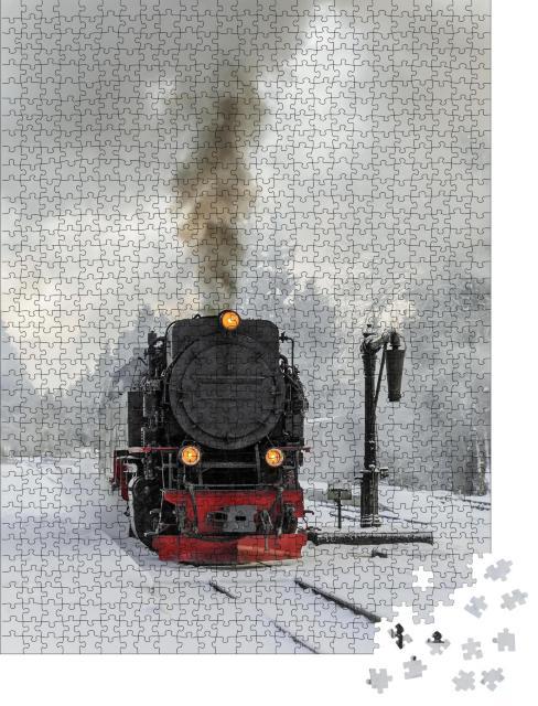 """Puzzle 1000 Teile """"Dampflokomotive auf der winterlichen Fahrt zum Brocken, Deutschland"""""""