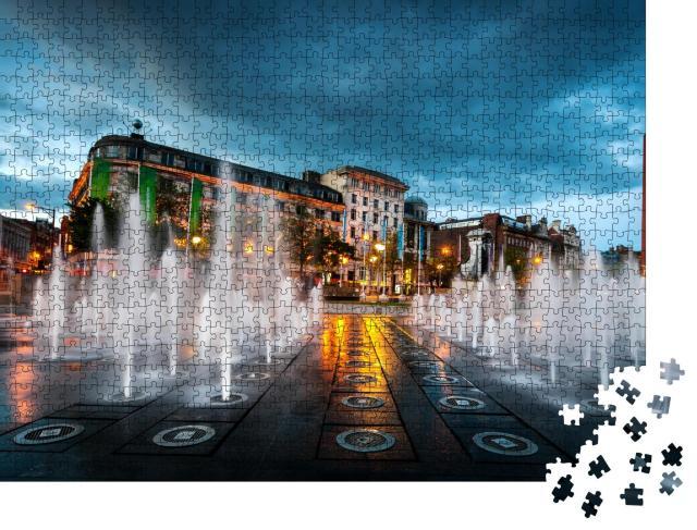"""Puzzle 1000 Teile """"Springbrunnen im Piccadilly-Garten im Zentrum von Manchester, England"""""""
