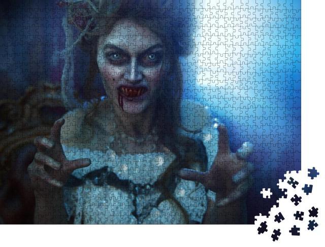 """Puzzle 1000 Teile """"Blutrünstiger weiblicher Vampir in einer alten verlassenen Burg im Vintage-Stil"""""""