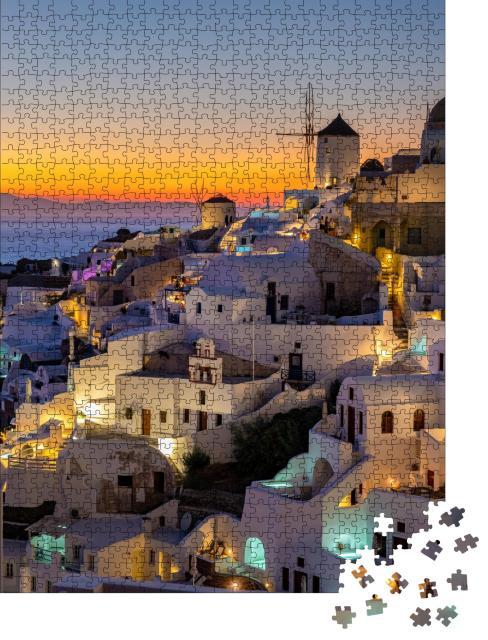 """Puzzle 1000 Teile """"Sonnenuntergang auf der Insel Santorini, Griechenland"""""""