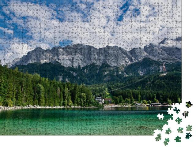 """Puzzle 1000 Teile """"Eibsee vor der Zugspitze in Bayern, Deutschland"""""""