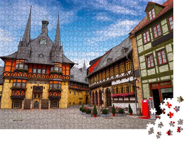 """Puzzle 1000 Teile """"Rathaus von Wernigerode im Harz, Deutschland"""""""